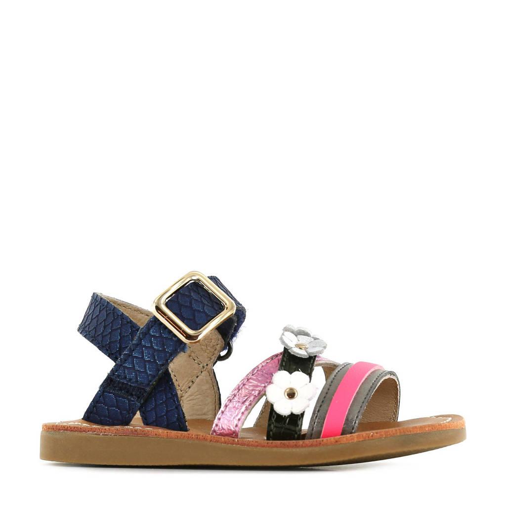 Shoesme CS21S009-C  leren sandalen met slangenprint blauw/multi, Blauw/multi
