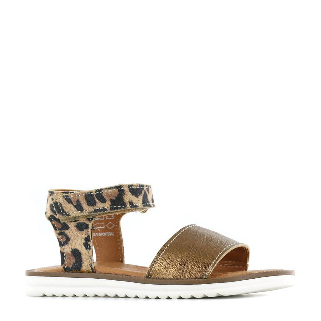 Shoesme MA21S025-E  leren sandalen met panterprint goud, Goud/bruin