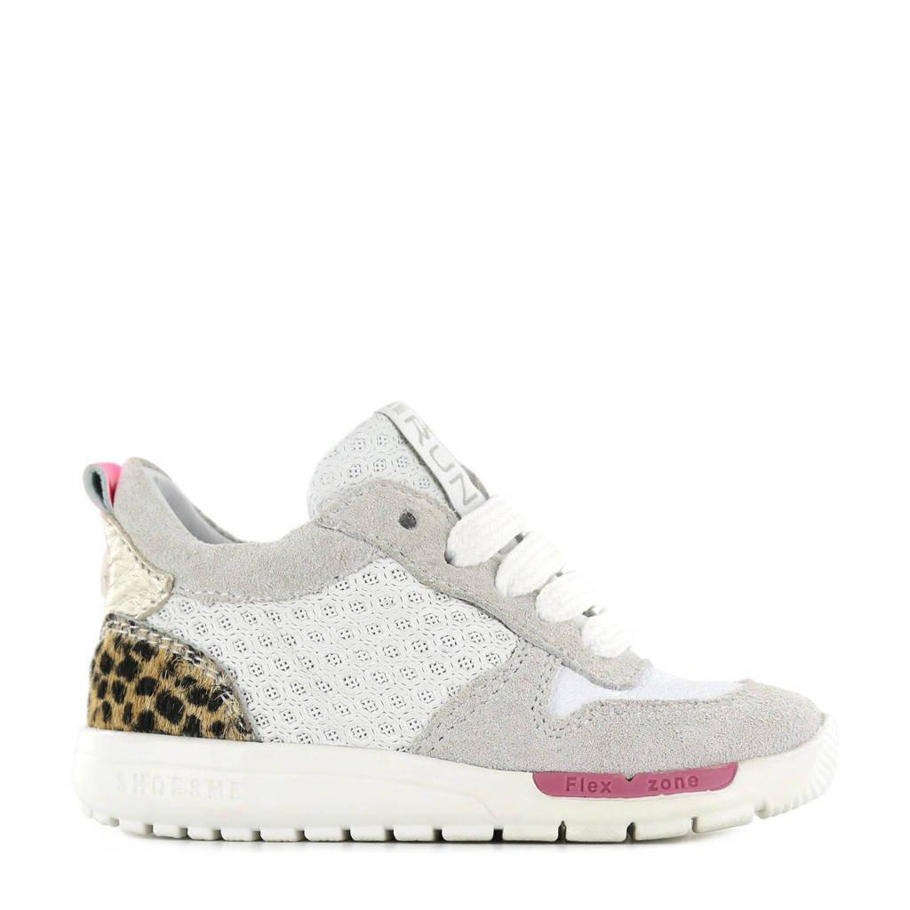Shoesme RF21S029-A  suède sneakers met panterprint wit, Wit