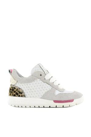 RF21S029-A  suède sneakers met panterprint wit
