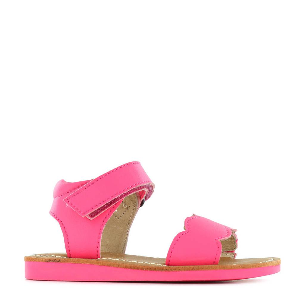 Shoesme CS21S008-B  leren sandalen neon roze, Roze/neon roze