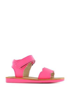 CS21S008-B  leren sandalen neon roze