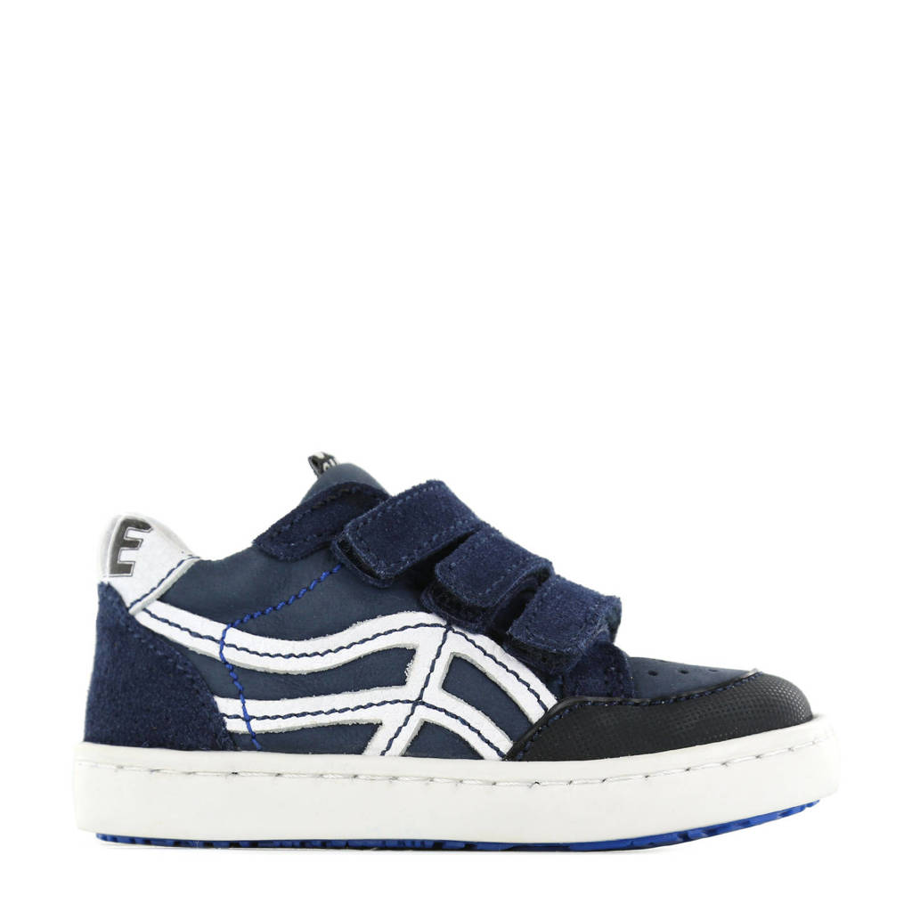 Shoesme UR21S016-A  leren sneakers donkerblauw, Donkerblauw/wit