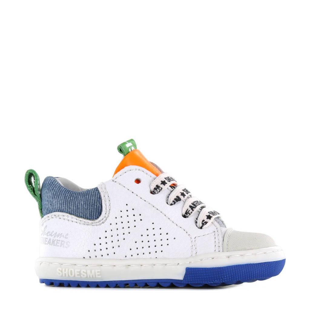 Shoesme EF21S012-A  leren sneakers wit/blauw, Wit/blauw