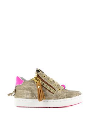 UR21S051-B  leren sneakers goud/roze
