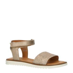 MA21S025-B  leren sandalen beige/goud