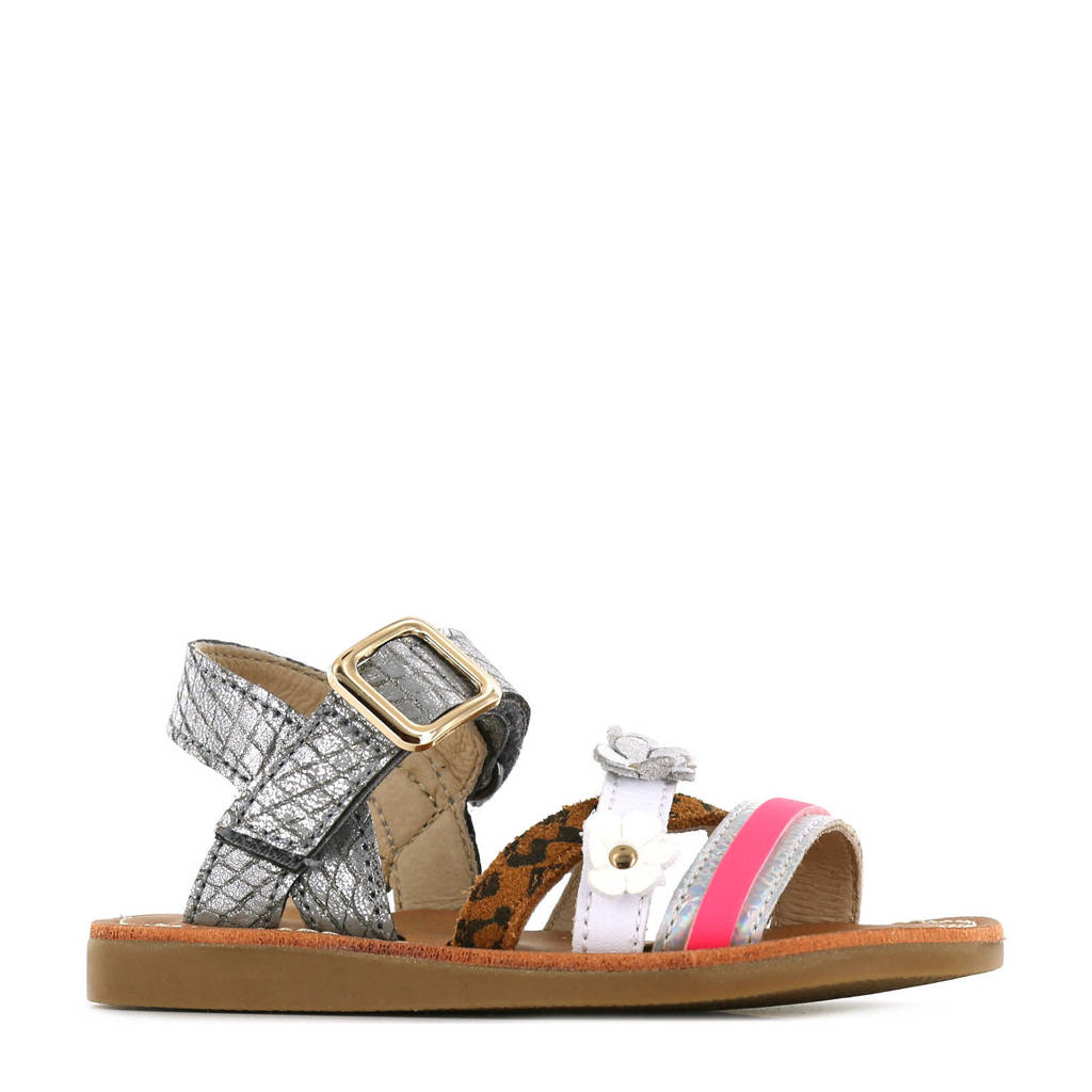 Shoesme CS21S009-B  leren sandalen met dierenprint zilver/multi, Zilver