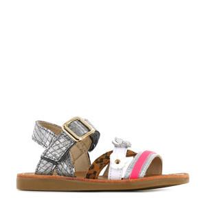 CS21S009-B  leren sandalen met dierenprint zilver/multi