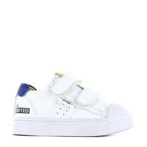 SH21S015-C  leren sneakers wit/blauw