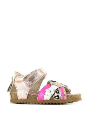 BI21S088-B  leren sandalen met panterprint roségoud