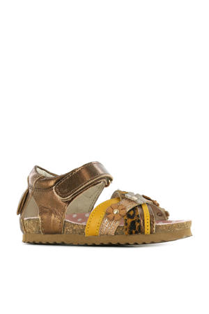 BI21S088-A  leren sandalen met panterprint brons