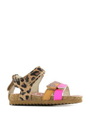 BI21S080-A  leren sandalen met panterprint bruin