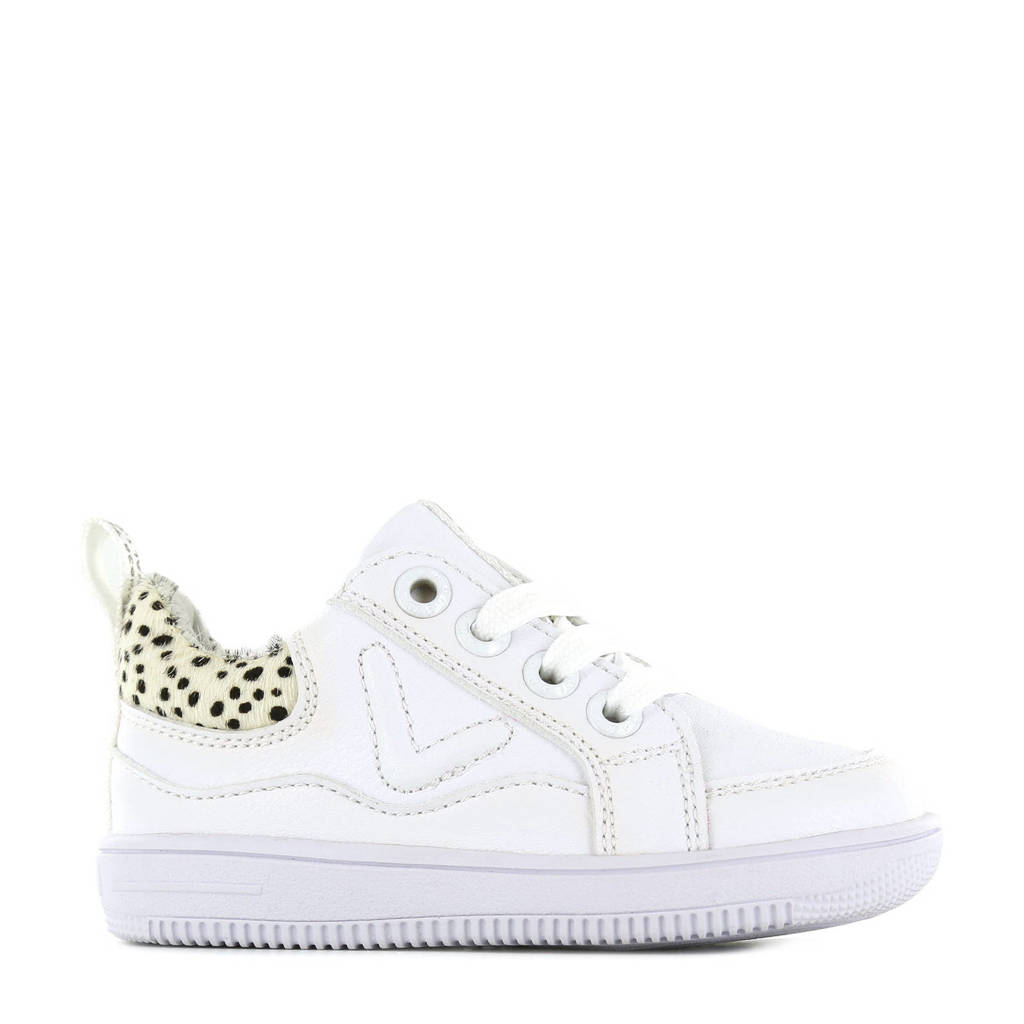 Shoesme MU21S018-A  leren sneakers met dierenprint wit, Wit/beige