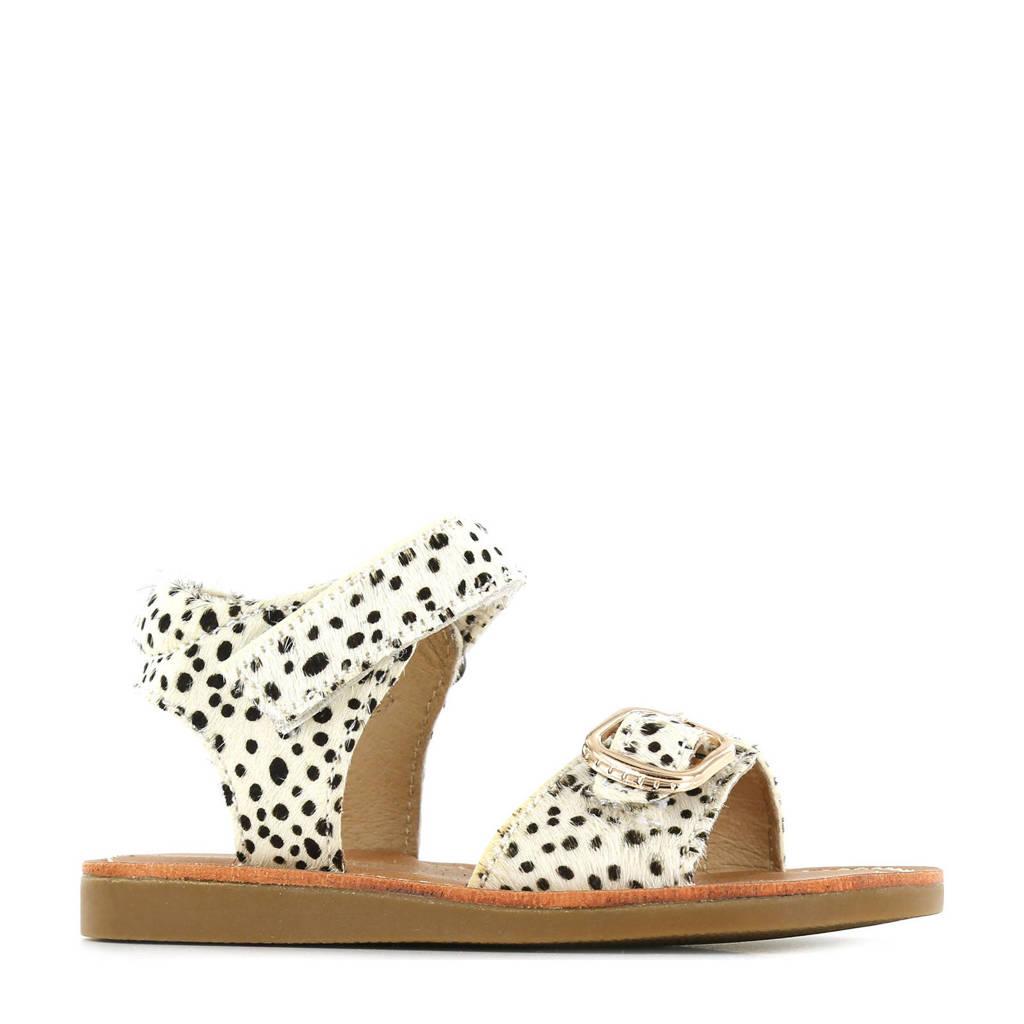 Shoesme CS21S004-D  leren sandalen met dierenprint wit, Wit/zwart