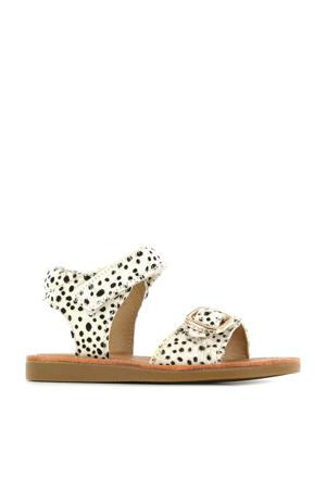 CS21S004-D  leren sandalen met dierenprint wit