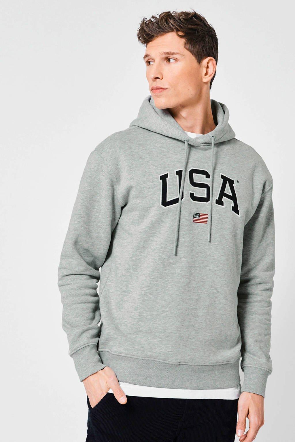 America Today hoodie Sion met printopdruk grijs melange, Grijs melange