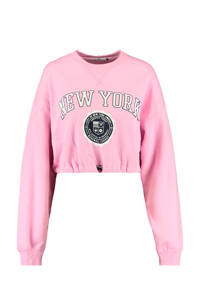 America Today cropped sweater Sarah met tekst roze, Roze