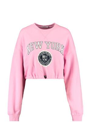 cropped sweater Sarah met tekst roze