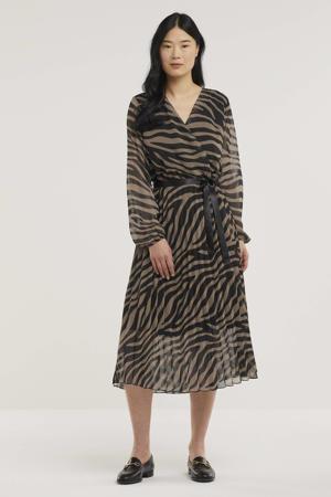 semi-transparante maxi jurk met zebraprint en ceintuur bruin/zwart