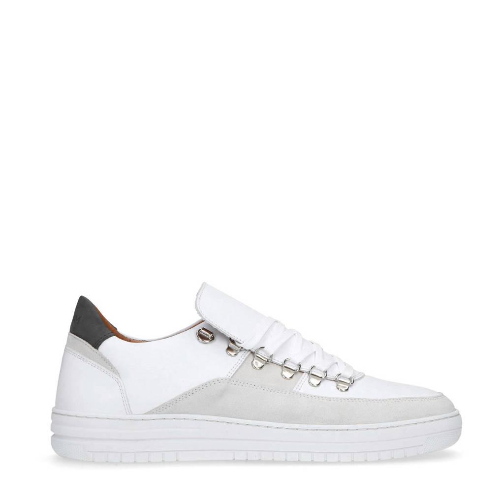 Manfield   nubuck sneakers wit, Wit