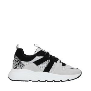 suède sneakers wit/zwart
