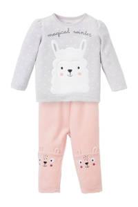 C&A Baby Club velours pyjama lichtgrijs/roze/wit
