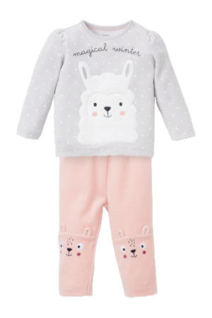 velours pyjama lichtgrijs/roze/wit