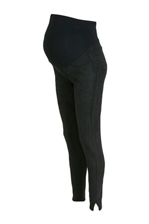 high waist slim fit zwangerschapsbroek zwart