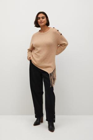 gemêleerde gebreide trui met wol beige
