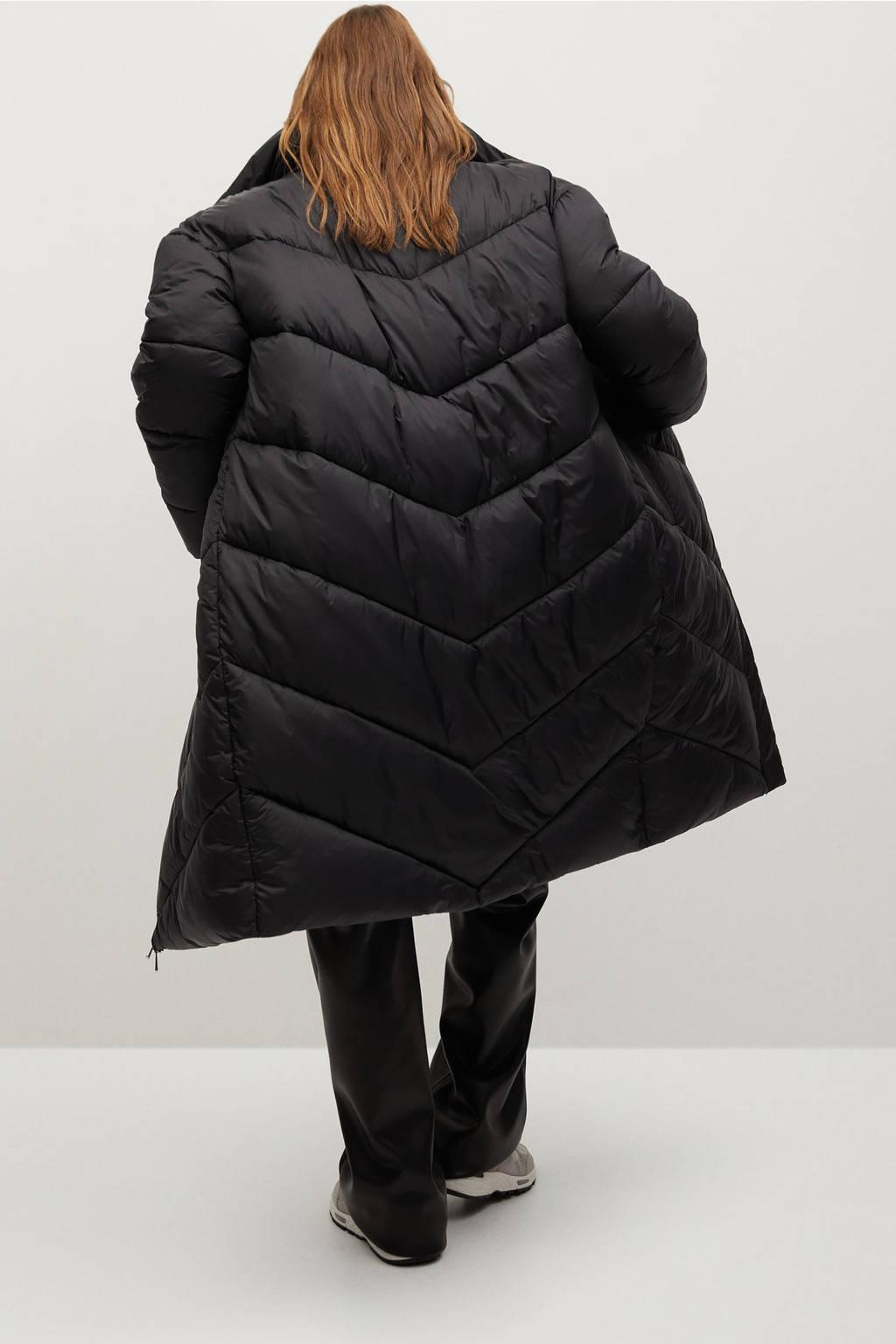 Mango gewatteerde jas zwart, Zwart