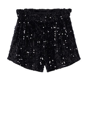 fluwelen short met pailletten zwart
