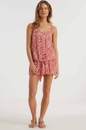 wide leg korte broek met zebraprint roze/oudroze