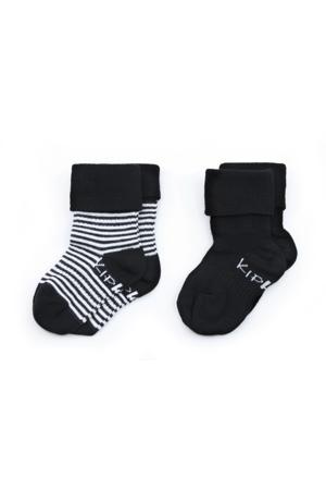 blijf-sokken 0-12 maanden - set van 2 uni/streep zwart/wit