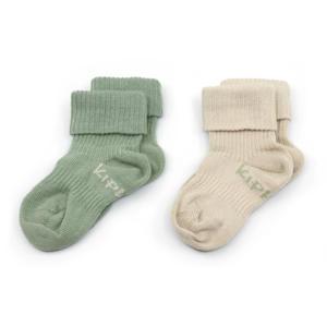 bio-katoen blijf-sokken 0-12 maanden - set van 2 calming green