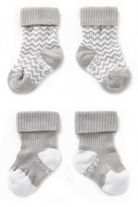 KipKep blijf-sokken 0-12 maanden - set van 2 grijs/wit, Grijs/wit