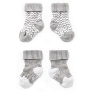 blijf-sokken 0-12 maanden - set van 2 grijs/wit