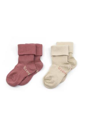bio-katoen blijf-sokken 0-12 maanden - set van 2 Dusty Clay