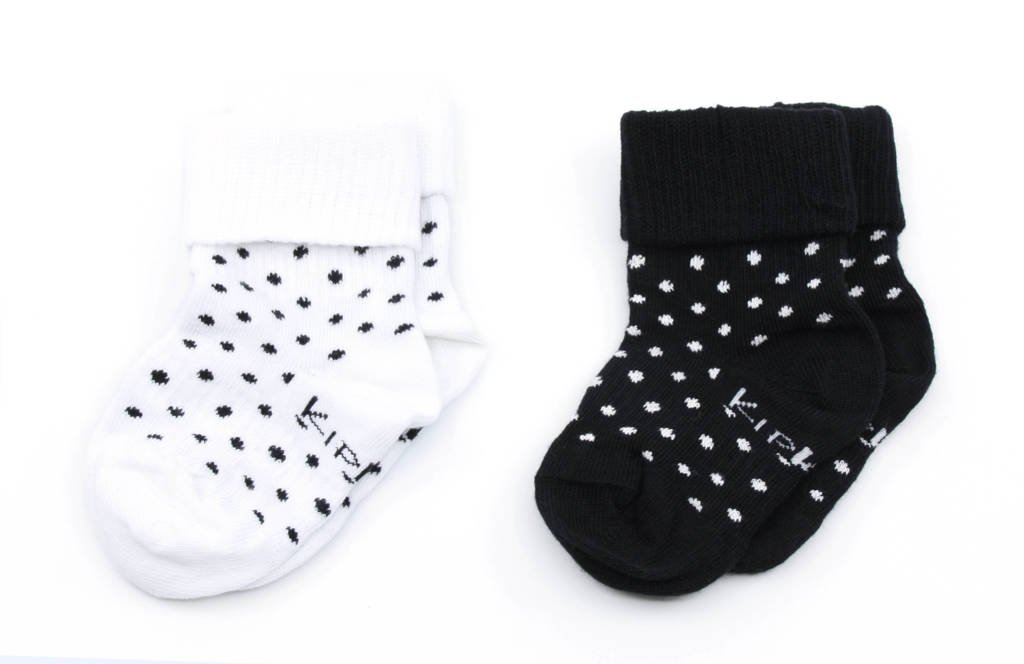 KipKep blijf-sokken 0-12 maanden - set van 2 stip wit/zwart, Wit/zwart