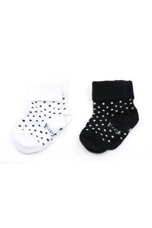 blijf-sokken 0-12 maanden - set van 2 stip wit/zwart