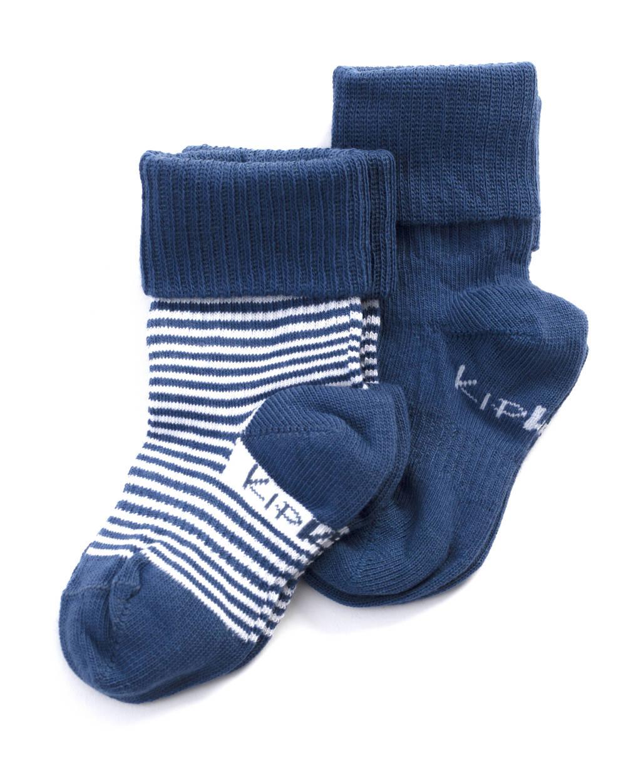 KipKep blijf-sokken 0-12 maanden - set van 2 uni/streep blauw/wit, Blauw/wit