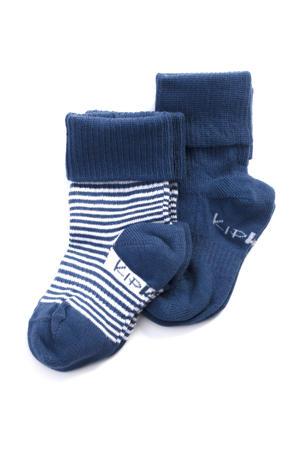 blijf-sokken 0-12 maanden - set van 2 uni/streep blauw/wit