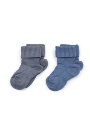 bio-katoen blijf-sokken 0-12 maanden - set van 2 Denim Blue