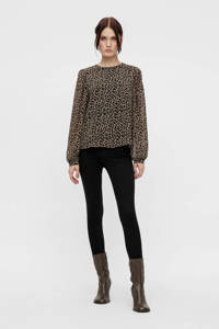 OBJECT blouse OBJMILA met all over print zwart/beige, Zwart/beige