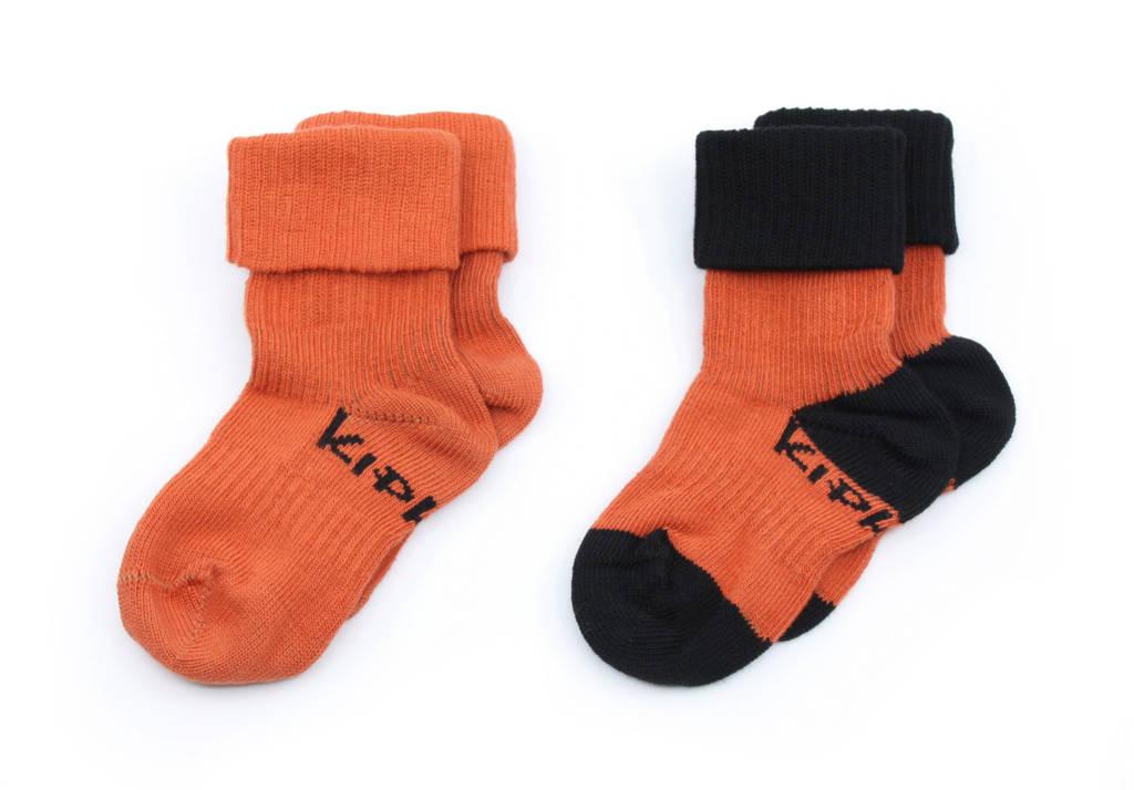 KipKep blijf-sokken 0-12 maanden - set van 2 roest/zwart, Roest/zwart