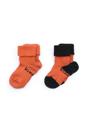 blijf-sokken 0-12 maanden - set van 2 roest/zwart
