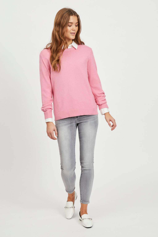 VILA gemêleerde fijngebreide trui VIRIL roze, Roze