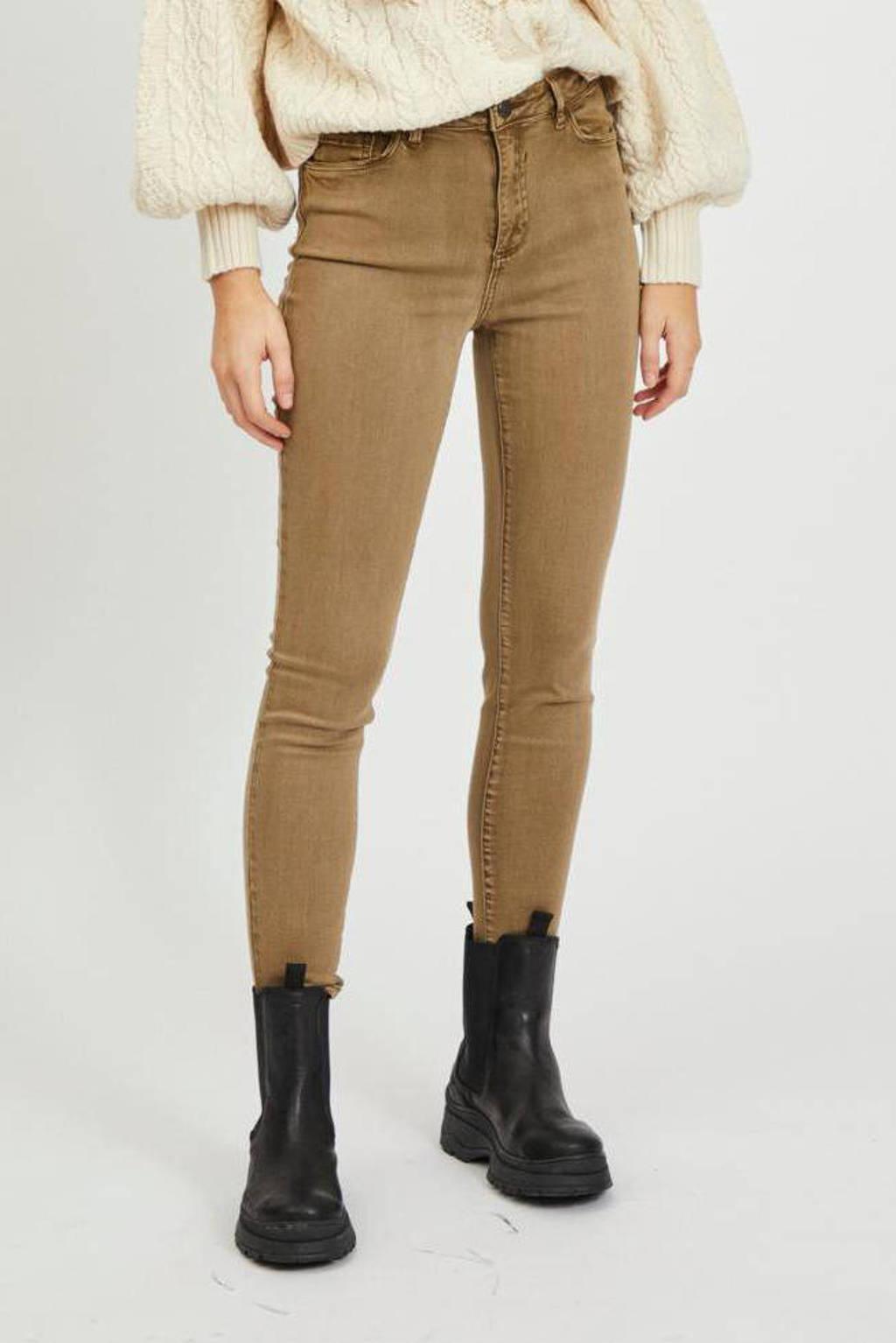 VILA skinny jeans VIAMY butternut, Bruin