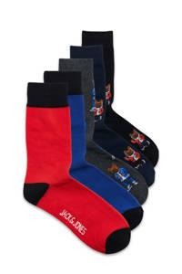 JACK & JONES sokken - set van 5 blauw/rood, Blauw/rood