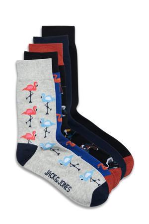 sokken - set van 5 donkerblauw/grijs
