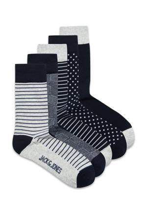 sokken - set van 5 grijs/donkerblauw